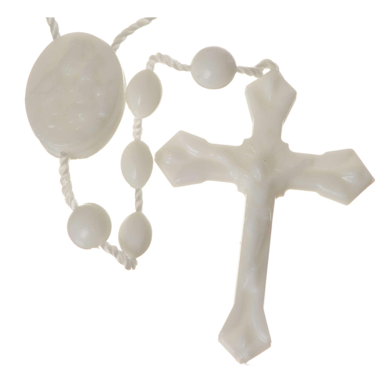 White nylon rosary, centerpiece easy to open 4