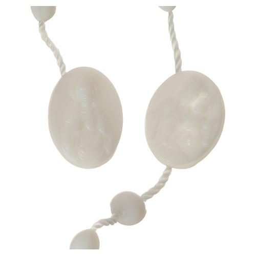 White nylon rosary, centerpiece easy to open 2