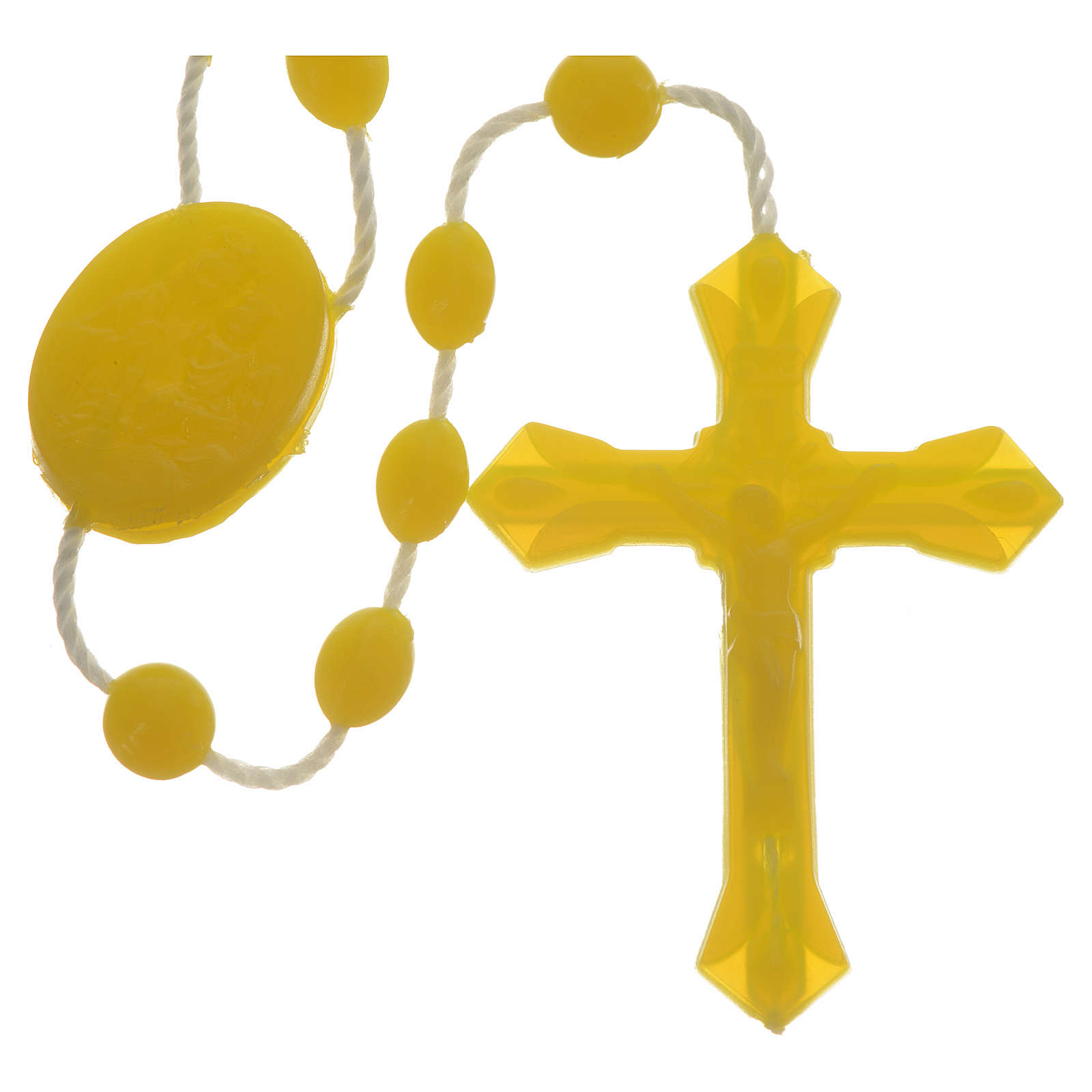 Yellow nylon rosary, centerpiece easy to open 4