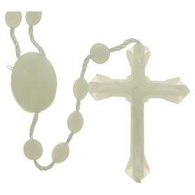 Terços Baratos: Terço nylon fosforescente medalha fecho encaixe