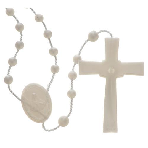 White pearl effect nylon rosary 2