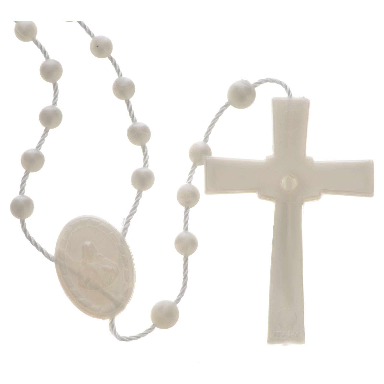 Chapelet en nylon blanc perlé 4