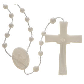 White pearl effect nylon rosary s2