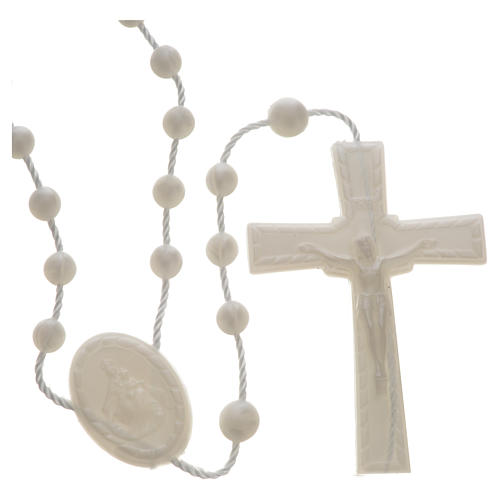 White pearl effect nylon rosary 1