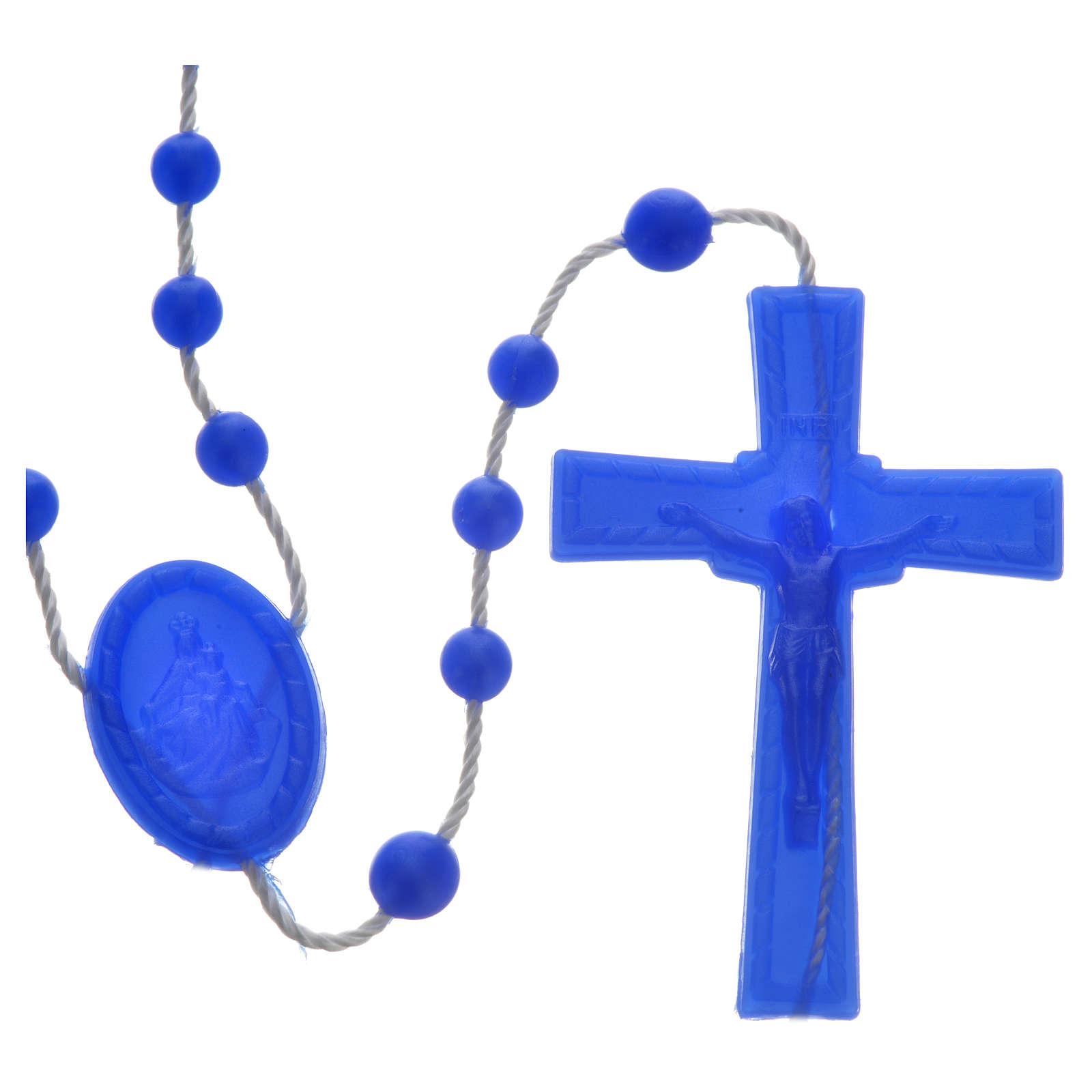 Tragbarer Rosenkranz, blaue Kunststoffperlen mit leichtem Glanzeffekt auf Nylonkordel 4