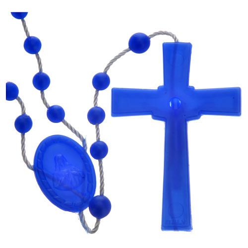 Tragbarer Rosenkranz, blaue Kunststoffperlen mit leichtem Glanzeffekt auf Nylonkordel 2