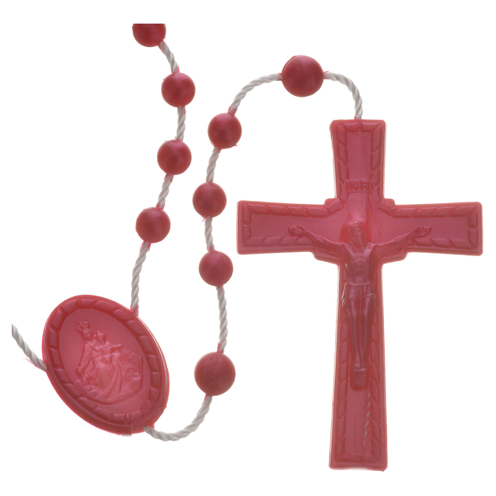 Red pearl effect nylon rosary 4