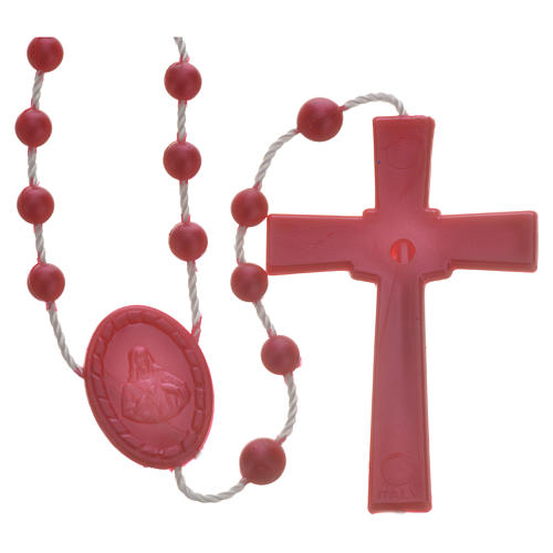 Red pearl effect nylon rosary 2
