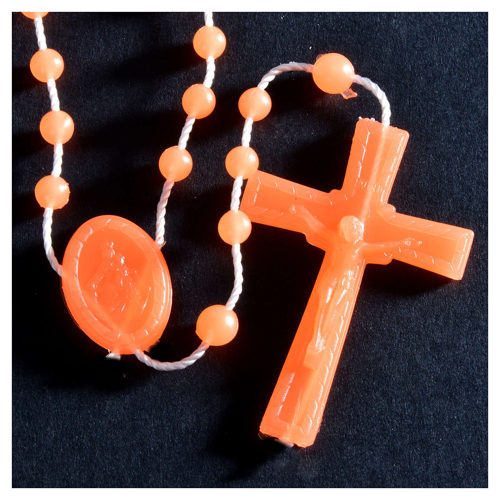 Nylon florescent rosary beads, orange 4