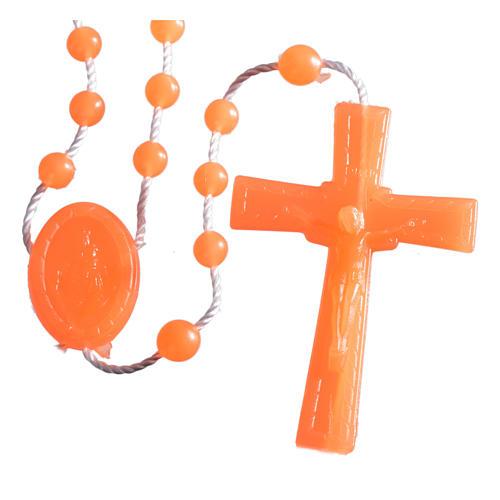 Nylon florescent rosary beads, orange 1