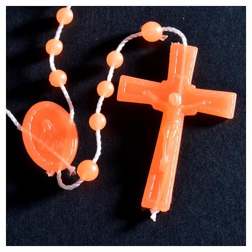 Nylon florescent rosary beads, orange 3