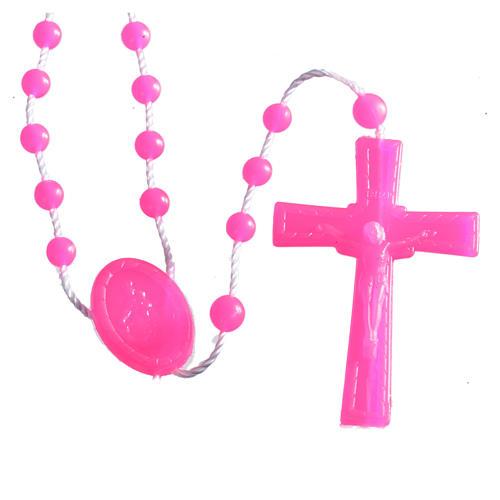 Nylon florescent rosary beads, fuchsia 1
