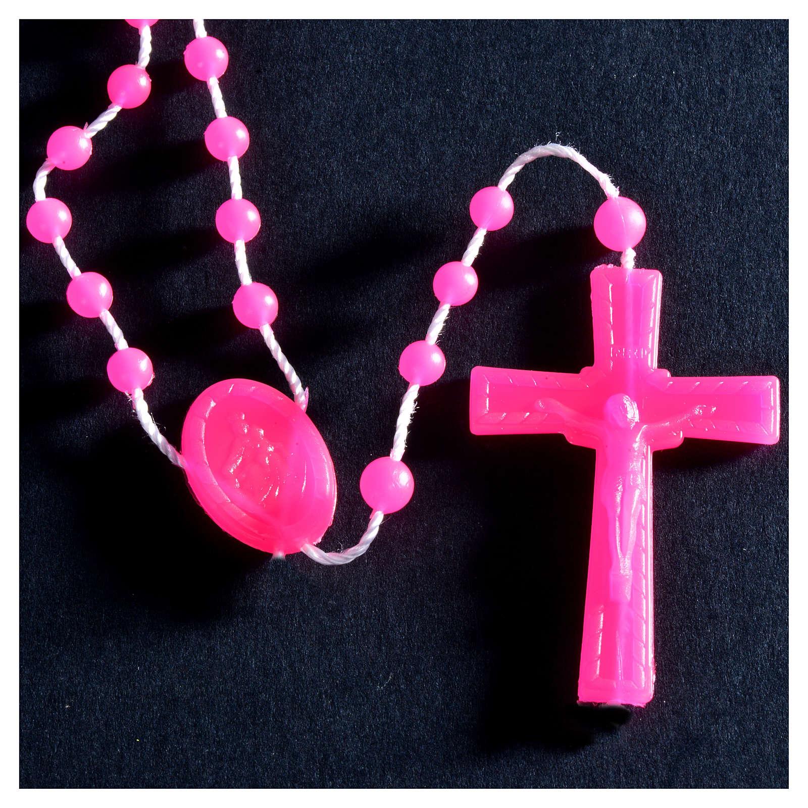 Nylon florescent rosary beads, fuchsia 4