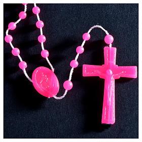 Nylon florescent rosary beads, fuchsia s2