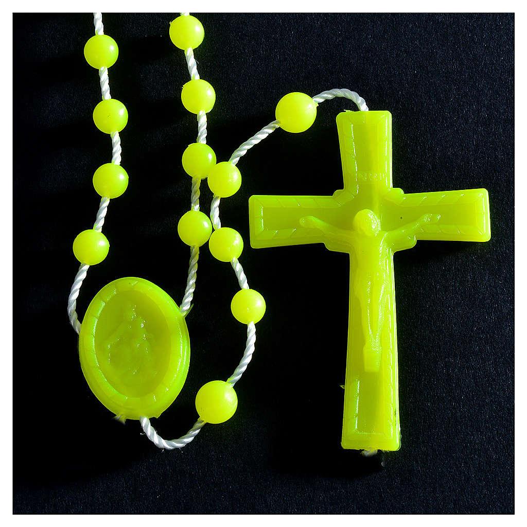Rosenkranz, phosphoreszierend gelb Kunststoffperlen auf Nylonkordel 4
