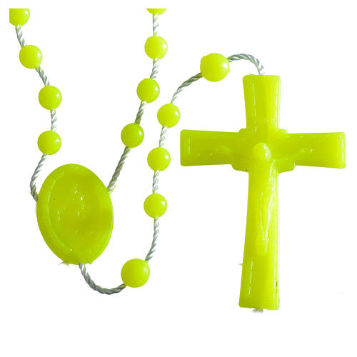 Nylon florescent rosary beads, yellow 1