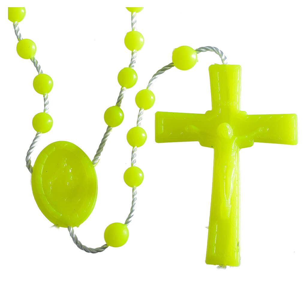 Nylon florescent rosary beads, yellow 4