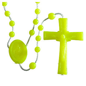 Nylon florescent rosary beads, yellow s1