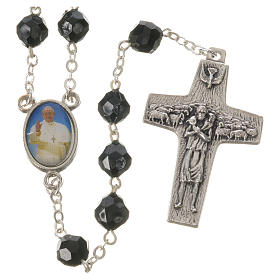 Pope Francis black rosary 7mm s1