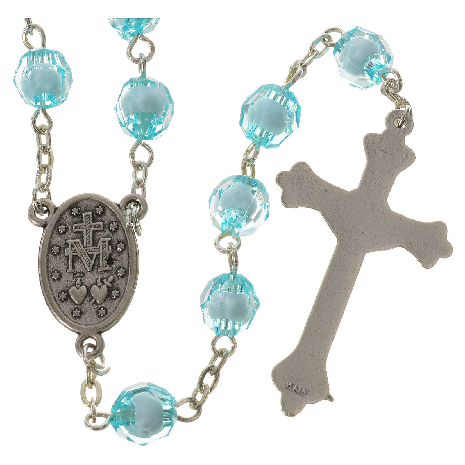 Rosary with Miraculous Medal and aquamarine grains 8mm 4