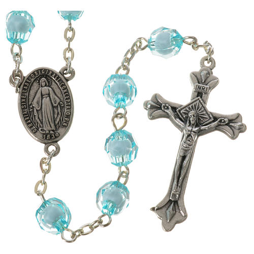 Rosary with Miraculous Medal and aquamarine grains 8mm 1