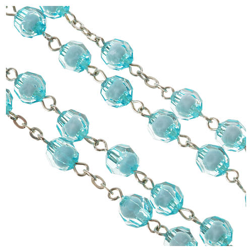 Rosary with Miraculous Medal and aquamarine grains 8mm 3