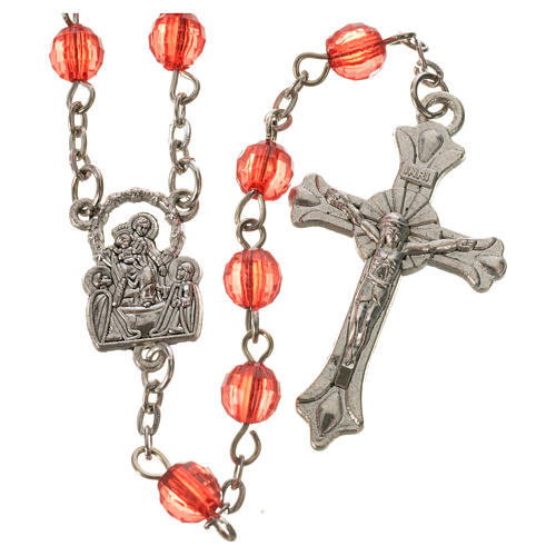 Our Lady of Pompeii rosary, acrylic 6mm 2