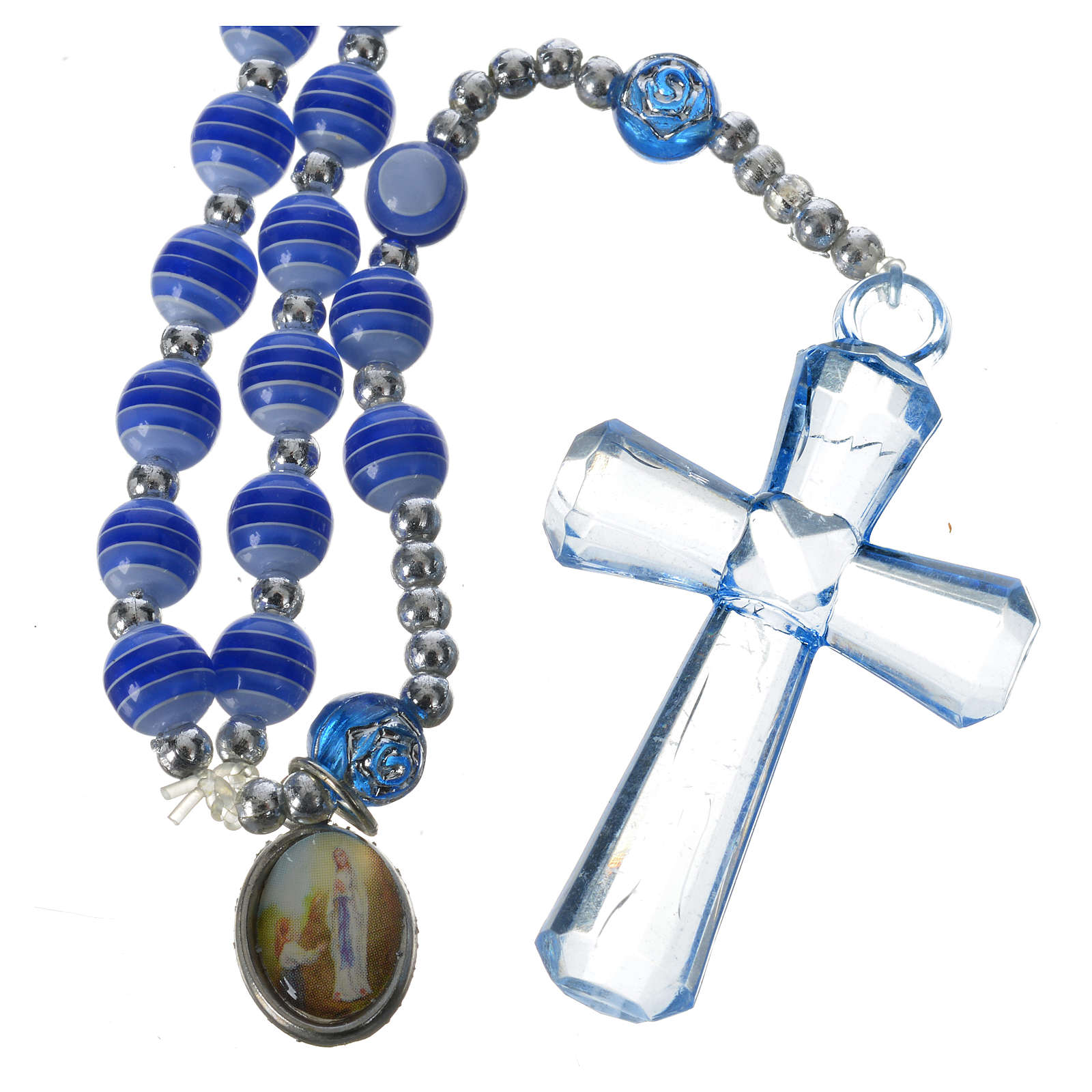 Rosario Resina blu 6 mm Lourdes 4