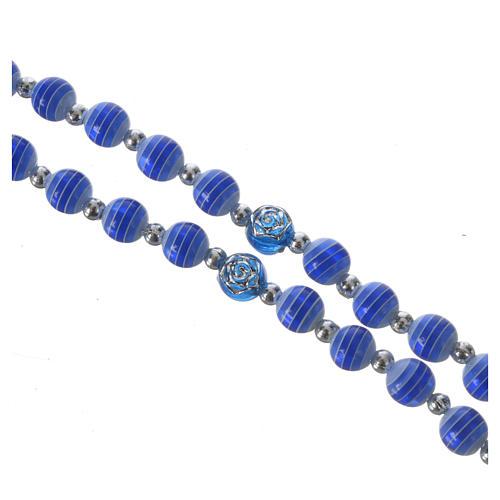 Rosario Resina blu 6 mm Lourdes 3