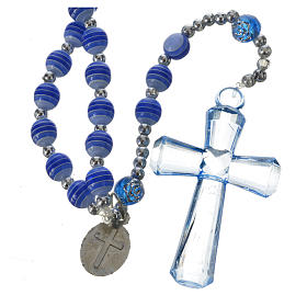 Rosary beads in blue resin, 6mm Lourdes s2