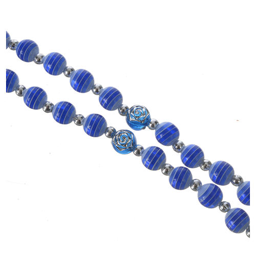Rosary beads in blue resin, 6mm Lourdes 3