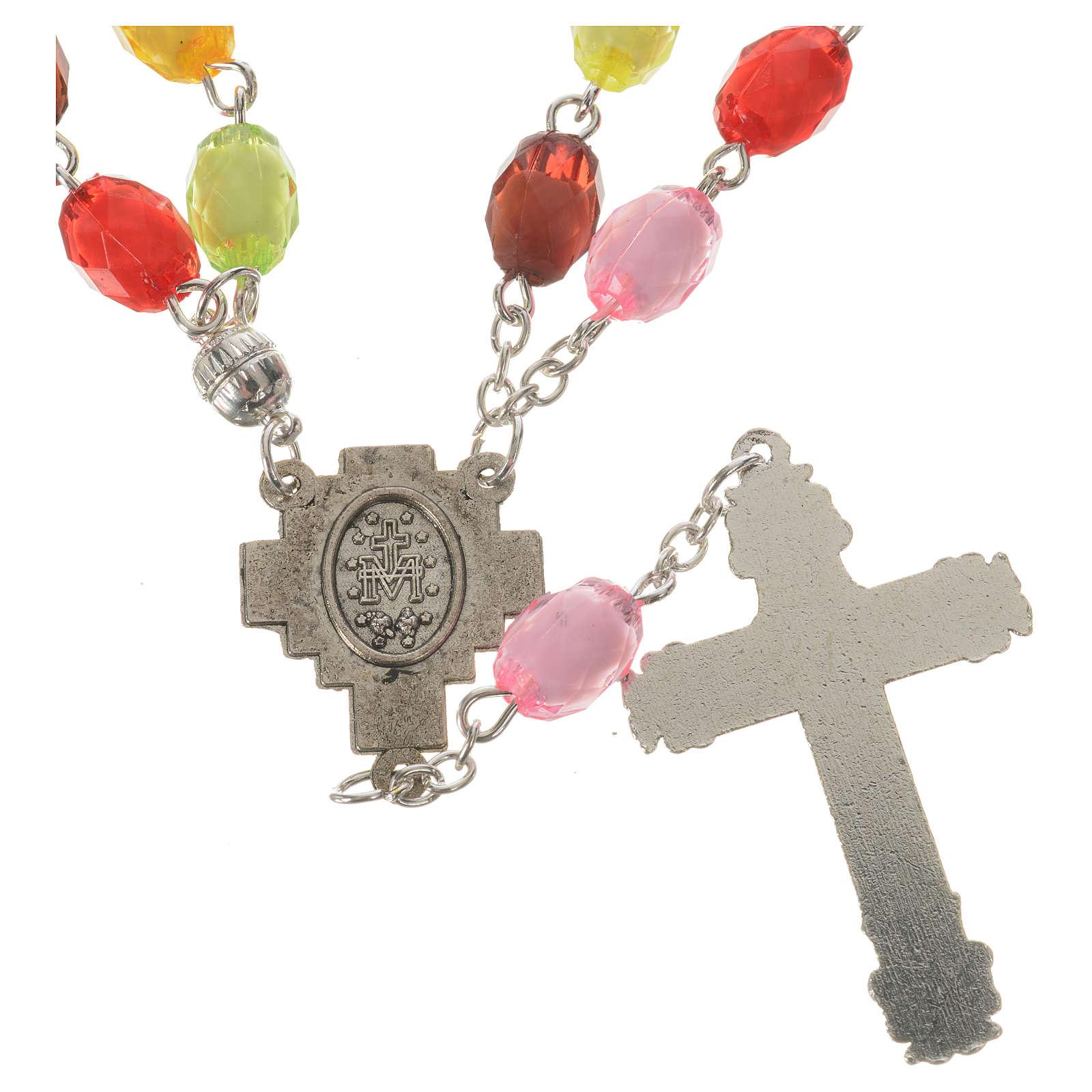 Rosario de la Virgen Milagrosa cuentas de resina 8x10 mm 4