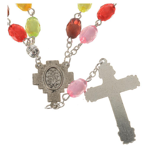Rosario de la Virgen Milagrosa cuentas de resina 8x10 mm 3