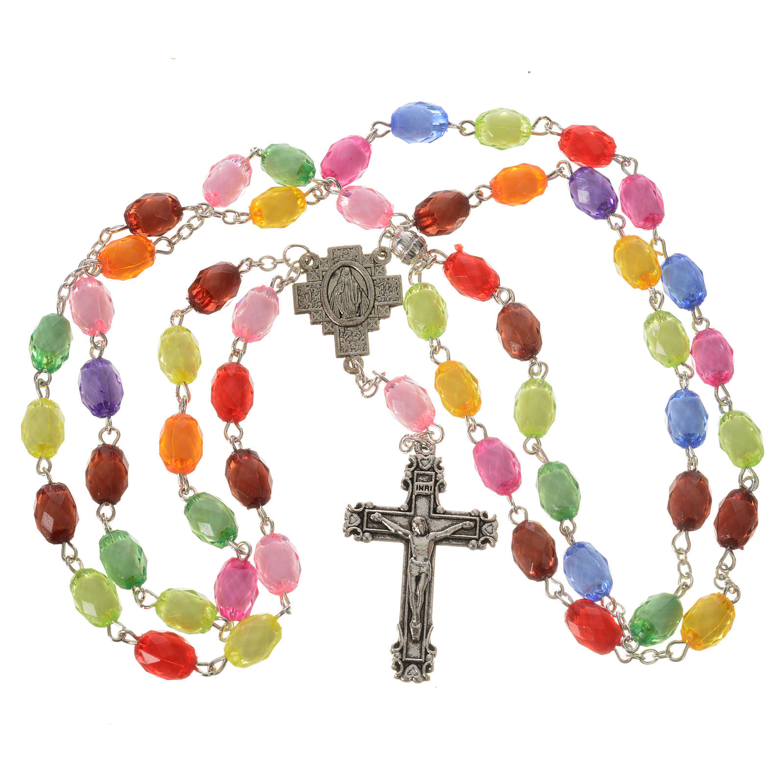 Rosary of the Miraculous medal with resin grains 8x10mm 4