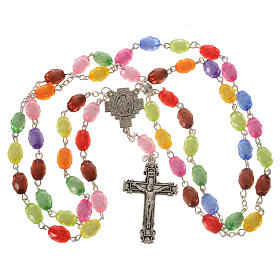 Rosary of the Miraculous medal with resin grains 8x10mm s6