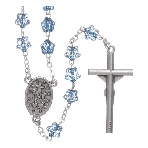 Rosario Virgen Fatima para niños cuentas estrellas azul con marcalibros 2