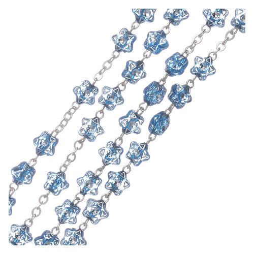Rosario Virgen Fatima para niños cuentas estrellas azul con marcalibros 3