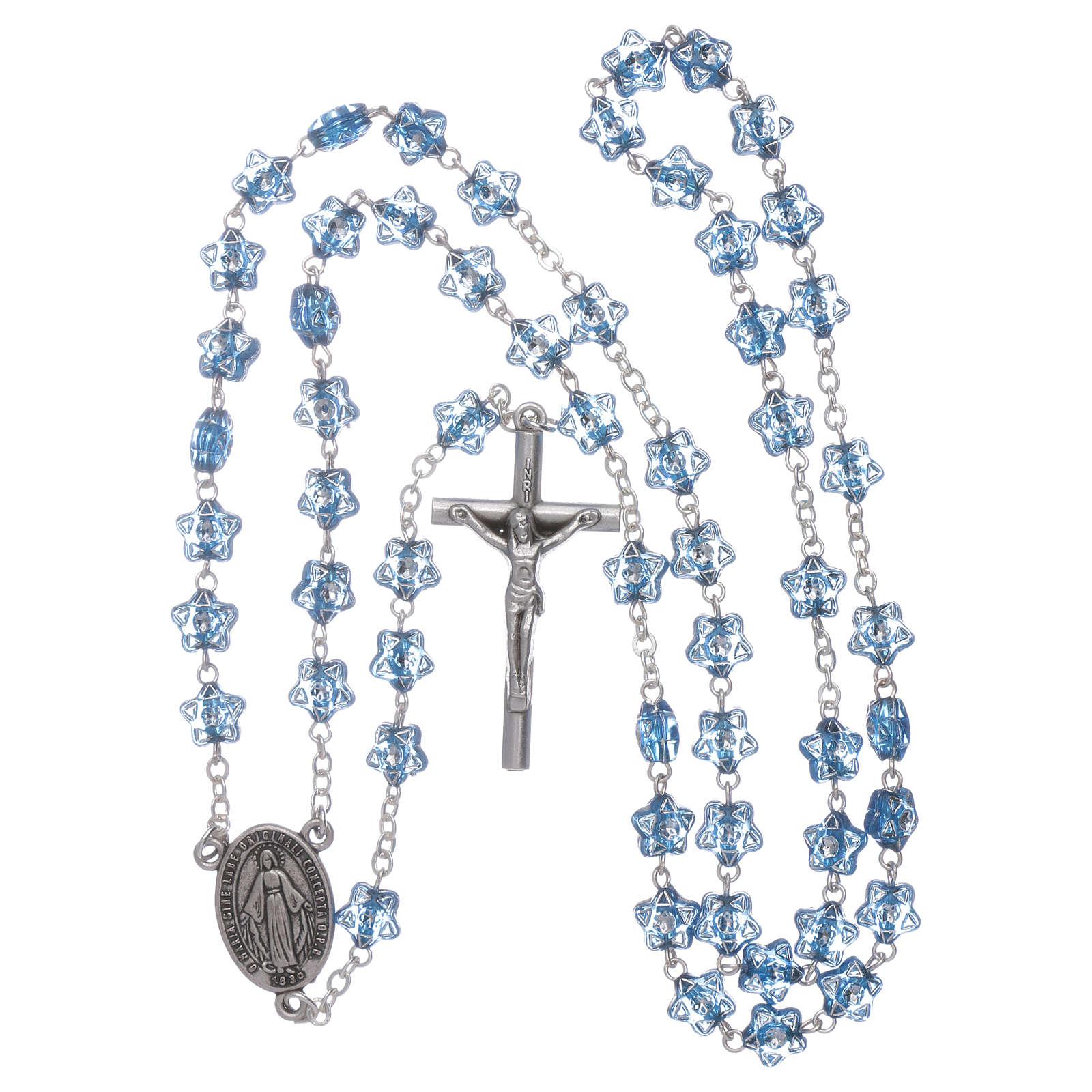 Chapelet Notre-Dame Fatima pour enfants grains étoile bleu avec marque-page 4