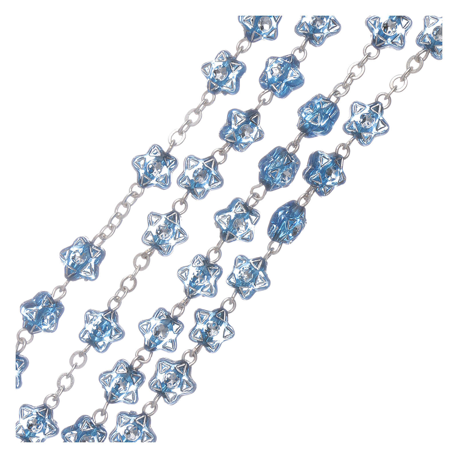 Rosario Madonna Fatima per bambini grani stella blu con segnalibro 4