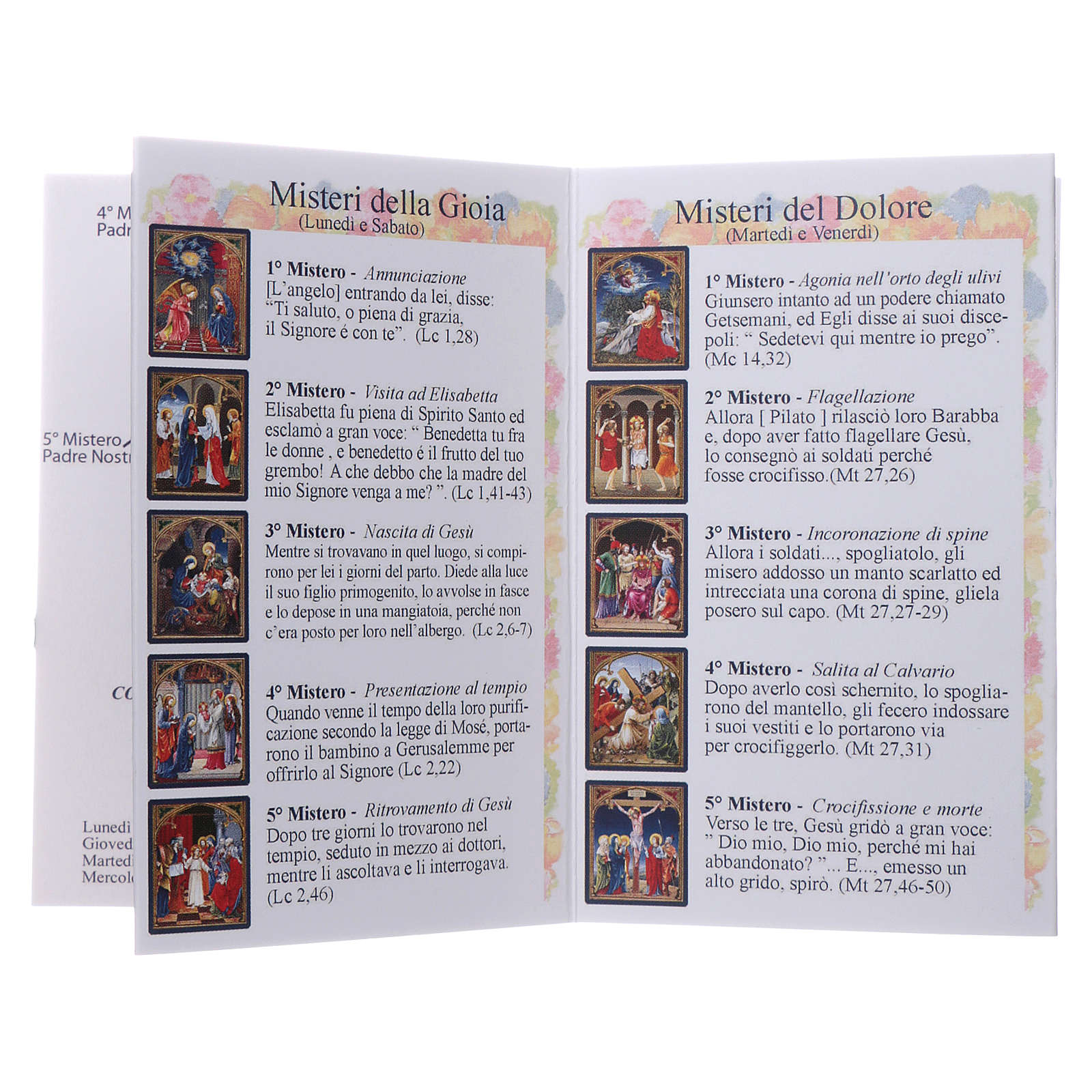 Rosary 4mm multicoloured beads with Our Lady of Fatima booklet 4