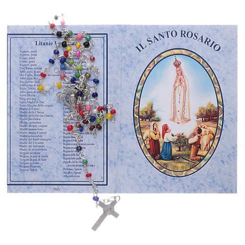 Rosary 4mm multicoloured beads with Our Lady of Fatima booklet 5