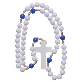 Rosary in blue plastic with white grains and blue pater 7,5 mm silk setting s4