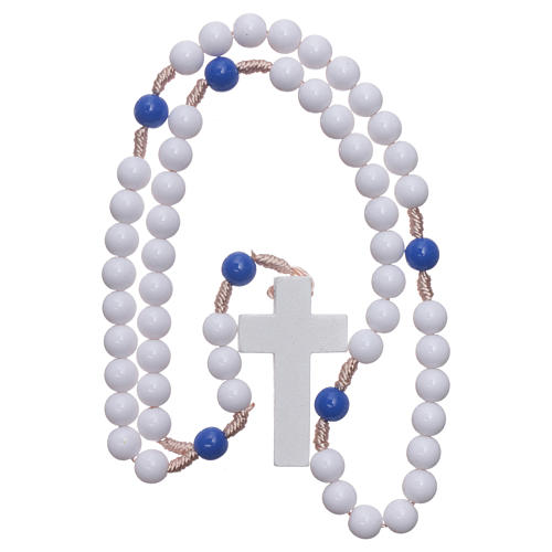 Rosary in blue plastic with white grains and blue pater 7,5 mm silk setting 4
