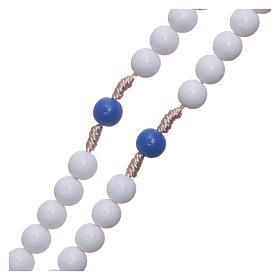 Rosario in plastica grani bianchi e pater blu 7,5 mm legatura seta s3