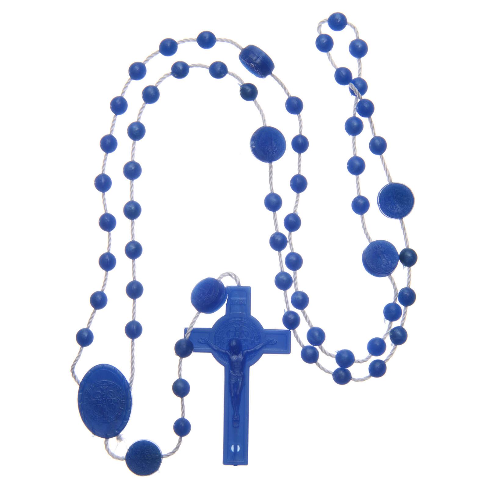 Rosenkranz, blaue Kunststoffperlen auf Nylonkordel, Heiliger Benedikt, 6 mm 4