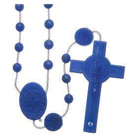Rosenkranz, blaue Kunststoffperlen auf Nylonkordel, Heiliger Benedikt, 6 mm s2