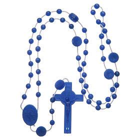 Rosenkranz, blaue Kunststoffperlen auf Nylonkordel, Heiliger Benedikt, 6 mm s4