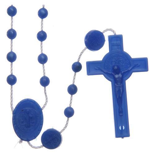 Rosenkranz, blaue Kunststoffperlen auf Nylonkordel, Heiliger Benedikt, 6 mm 1