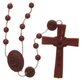 Rosary Our Lady of Fatima brown in nylon 6 mm s1