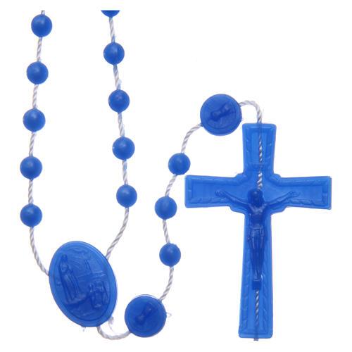 Rosario Fatima nylon blu perlato 6 mm 1